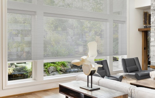 Lounge setting with large Russells Honeycomb blinds